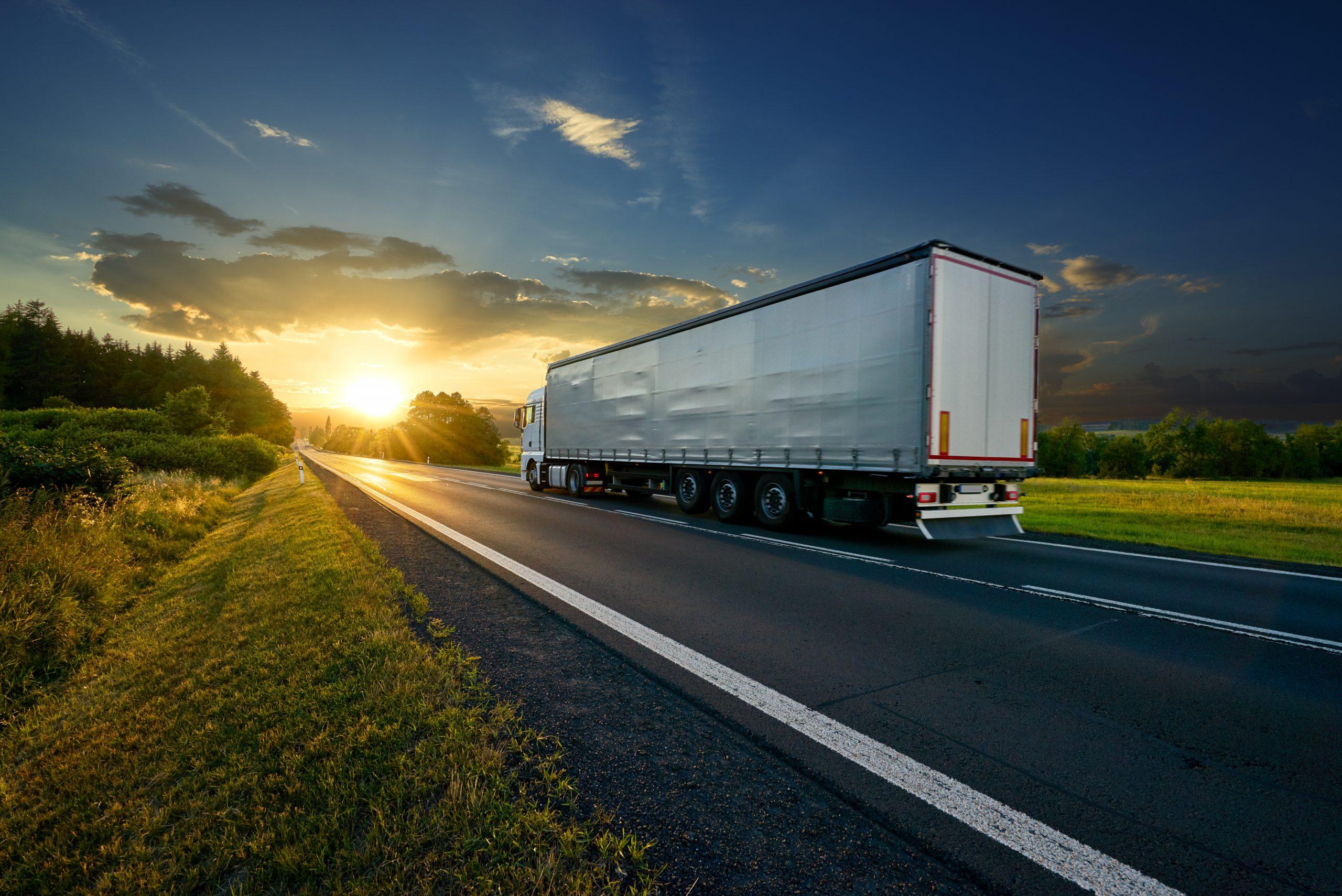 Truck on sunset highway